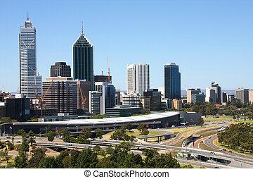 Perth skyline from Kings Park. Australian city view.
