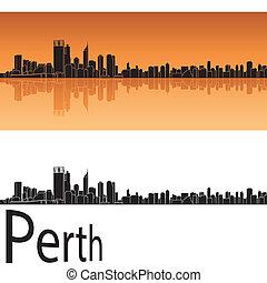 Perth skyline in orange background in editable vector file