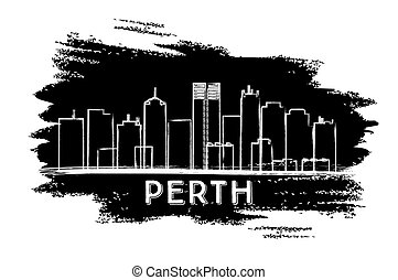 Perth Skyline Silhouette. Hand Drawn Sketch.