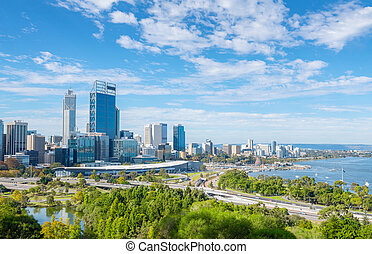 Perth view at the noon - skyline of Perth with city central ...
