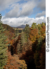 perthshire, ecosse, pitlochry, automne, garry, rivière