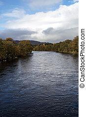 perthshire, ecosse, tay, automne, rivière, jour