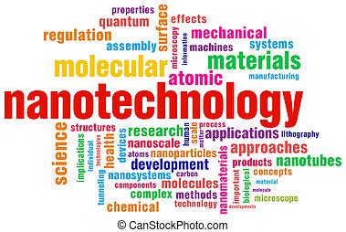 pertinent, mot, sur, isolé, étiquette, backg, nanotechnology...