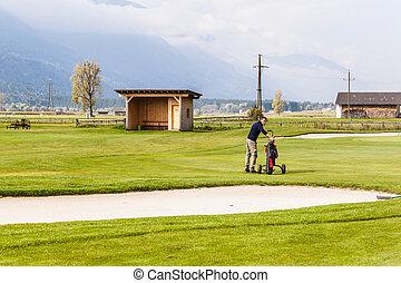 perto, um, golfe, caixa areia