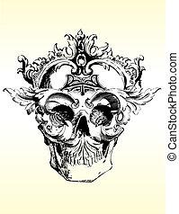 perturbado, cráneo, ilustración