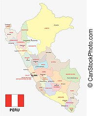 Peru administrative and political map with flag