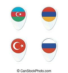 peru, alfinete mapa, azerbaijão, bandeira, localização, arménia, rússia, icon.
