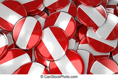 Peru Badges Background - Pile of peruvian Flag Buttons.