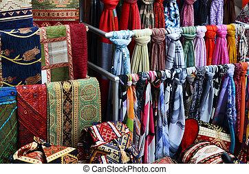 peru, bazar, tecido, tapete