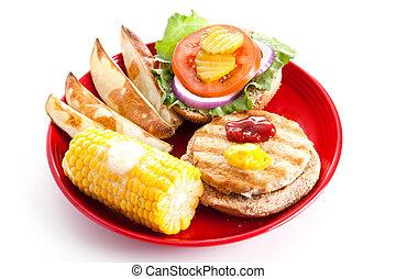 peru, comer, saudável, -, isolado, hambúrguer
