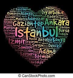 peru, coração, palavra, lista, cidades, nuvem