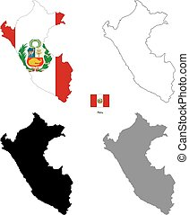 Peru country black silhouette and with flag on background