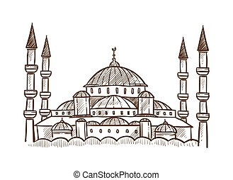 peru, esboço, esboço, mesquita, ilustração, vetorial, arquitetura, monocromático