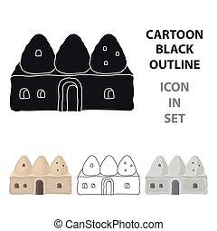 peru, estilo, illustration., colmeia, casa, símbolo, isolado, experiência., vetorial, branca, ícone, caricatura, estoque