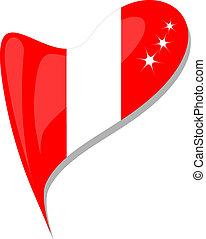 peru flag button heart shape. vector