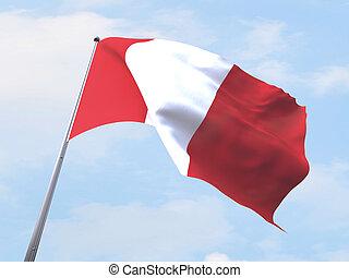 Peru flag flying on clear sky.