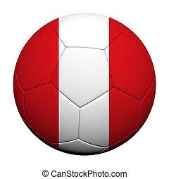 Peru Flag Pattern 3d rendering of a soccer ball