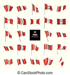 Peru flag, vector illustration on a white background - Peru...