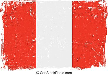 peru flag vector - Peru vector grunge flag isolated on white...