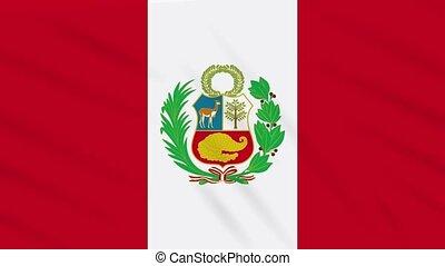 Peru flag waving cloth, background loop - Peru flag waving...
