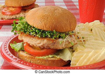 peru, hambúrguer, com, brotos