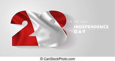 Peru happy independence day greeting card, banner, vector illustration. Peruvian national day 28th of July background with elements of flag