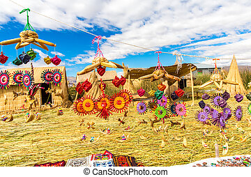 peru, lago, lembrança, titicaca, america., cana, ilhas,...