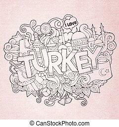 peru, lettering, elementos, mão, fundo, doodles