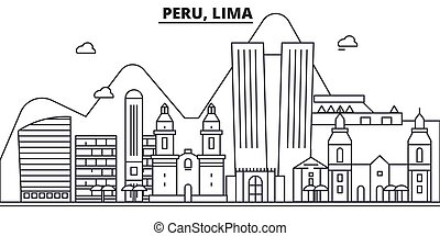Peru, Lima architecture line skyline illustration. Linear vector cityscape with famous landmarks, city sights, design icons. Editable strokes