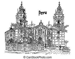 Peru Lima sketch black and white palm palace fountain