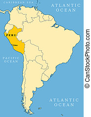 Peru locator map - country and capital city Lima. Map of South America.