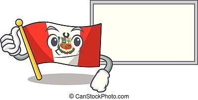 peru, macot, plank, vlag, vrijstaand, beduimelt omhoog