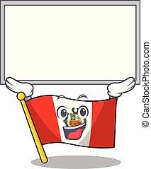 peru, macot, plank, vlag, vrijstaand, op