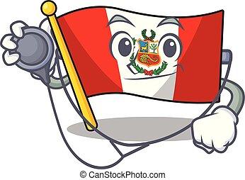 peru, macot, vlag, vrijstaand, arts