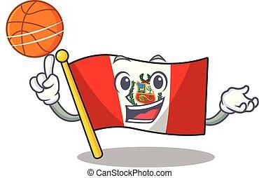 peru, macot, vlag, vrijstaand, basketbal