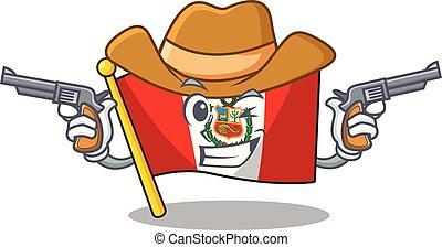 peru, macot, vlag, vrijstaand, cowboy