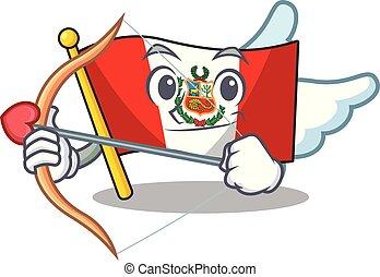 peru, macot, vlag, vrijstaand, cupido