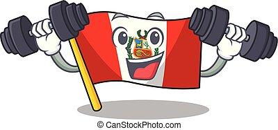 peru, macot, vlag, vrijstaand, fitness