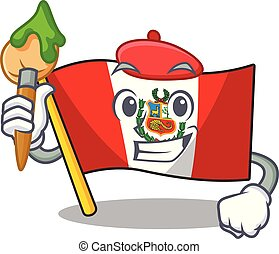 peru, macot, vlag, vrijstaand, kunstenaar