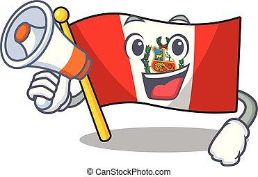 peru, macot, vlag, vrijstaand, megafoon