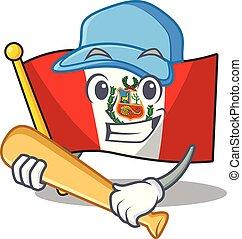 peru, macot, vlag, vrijstaand, spelend honkbal