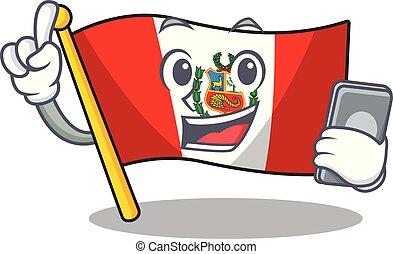 peru, macot, vlag, vrijstaand, telefoon