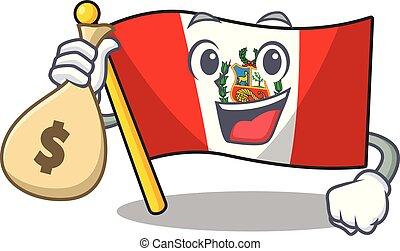 peru, macot, vlag, vrijstaand, zak, geld