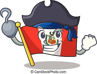 peru, macot, vlag, vrijstaand, zeerover