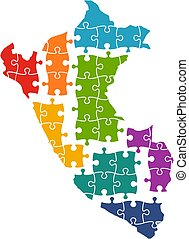 Peru map in Pieces of Puzzle. Vector Illustration