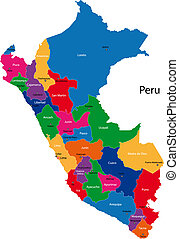 Map of the Republic of Peru with the regions colored in bright colors and the main cities