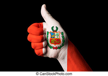 peru national flag thumb up gesture for excellence and...