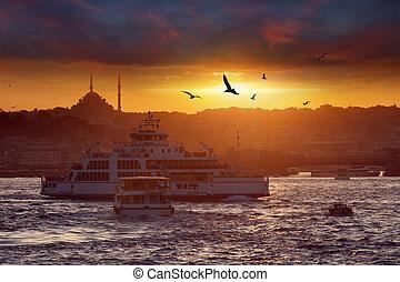 peru, noite, sobre, istambul, dramático, pôr do sol