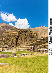 Peru, Ollantaytambo-Inca ruins of Sacred Valley in Andes...