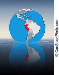 Peru on globe in water